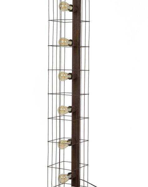Duverger Cage - Vloerlamp - metalen kooi - 6 lichtpunten - roestbruin