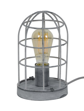 Duverger Cage - Tafellamp - metalen kooi - 1 lichtpunt - grijs - dia 15cm
