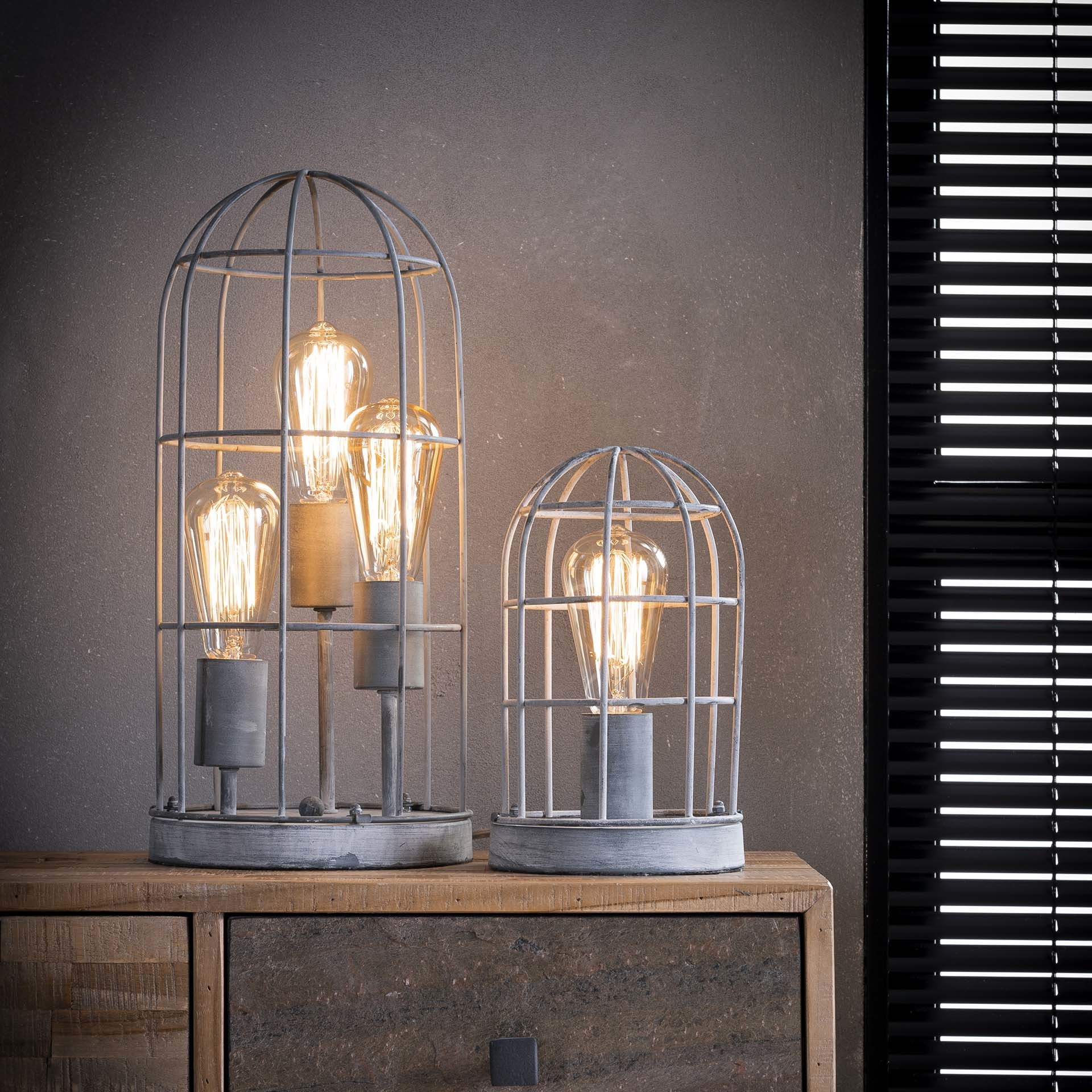 Duverger Cage - Tafellamp - metalen kooi - 3 lichtpunten - grijs - dia 20cm