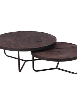 Duverger Industry massive - Salontafels - set van 2 - rond - dia 90 & 70 cm - acacia - metalen rand en onderstel