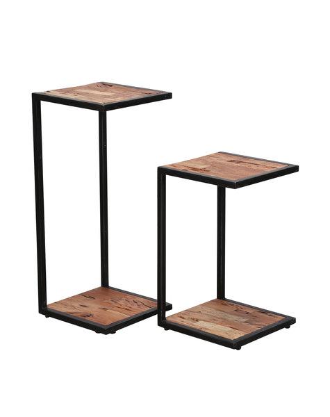 Duverger Industry Sandblast - Zuilen - set van 2 - 2 acacia bladen - gezandstraald - metalen frame - U-vorm