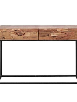 Duverger Industry Sandblast - Sidetable - acacia - gezandstraald - metalen frame - 2 lades - L 110cm