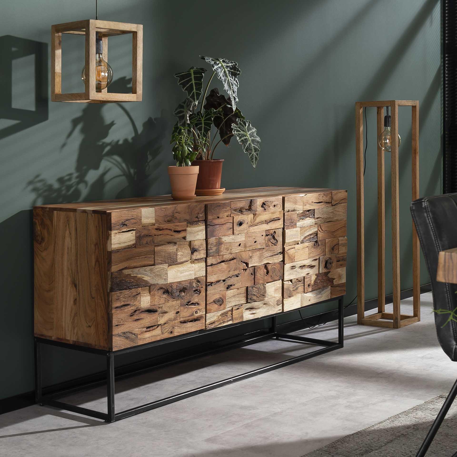 Duverger Industry Sandblast - Dressoir - acacia - gezandstraald - metalen frame - 3 deuren - L 160cm