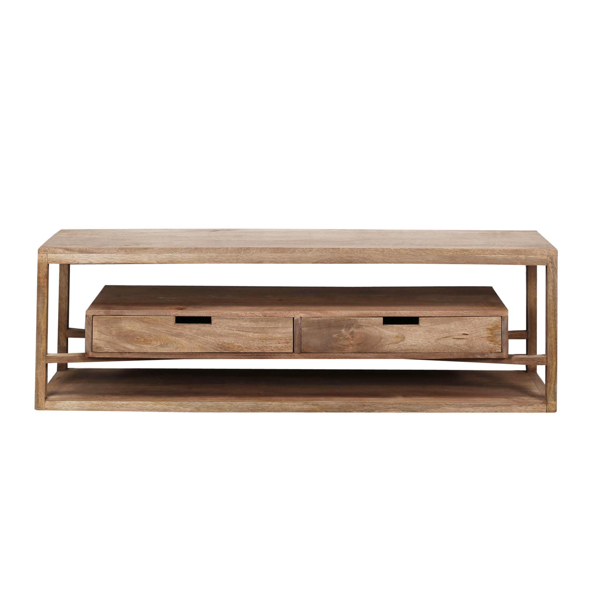 Duverger Sands - TV-meubel - massieve mango - zandkleur - 2 lades - L 140cm