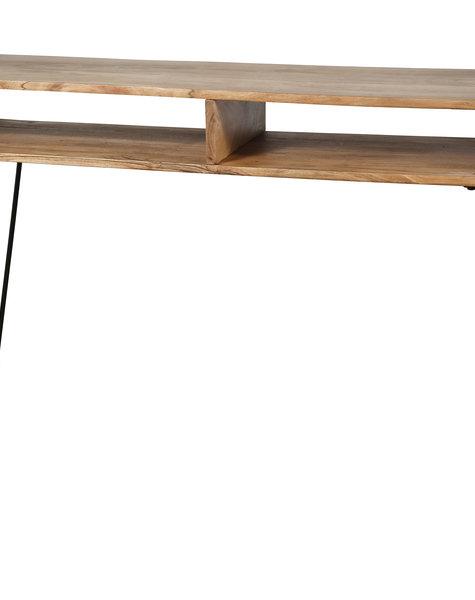 Duverger Loop - Sidetable - massieve acacia - 2 nissen - metalen beugels en onderstel