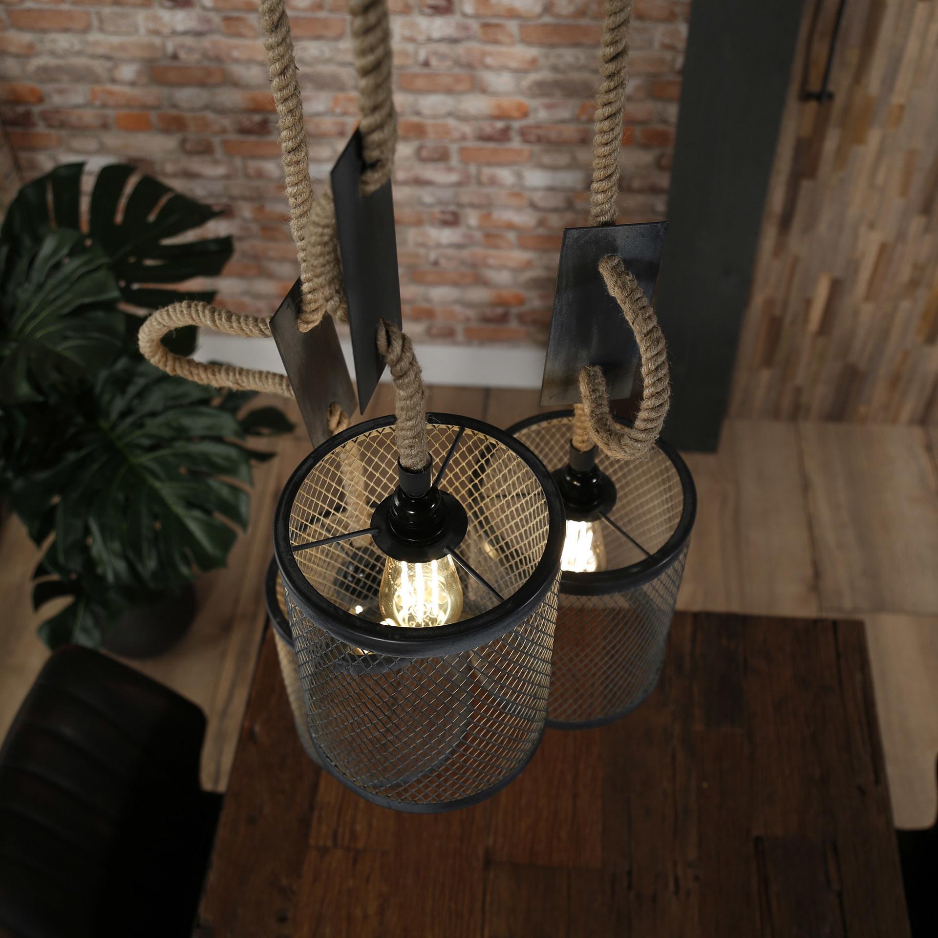 Duverger Rope - Hanglamp - set 3 cilinders - metaal gaas - dia 20cm  - verstelbaar touw