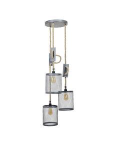 Duverger® Rope - Hanglamp - set 3 cilinders - metaal gaas - dia 20cm  - verstelbaar touw - met 3 LED lichtbronnen