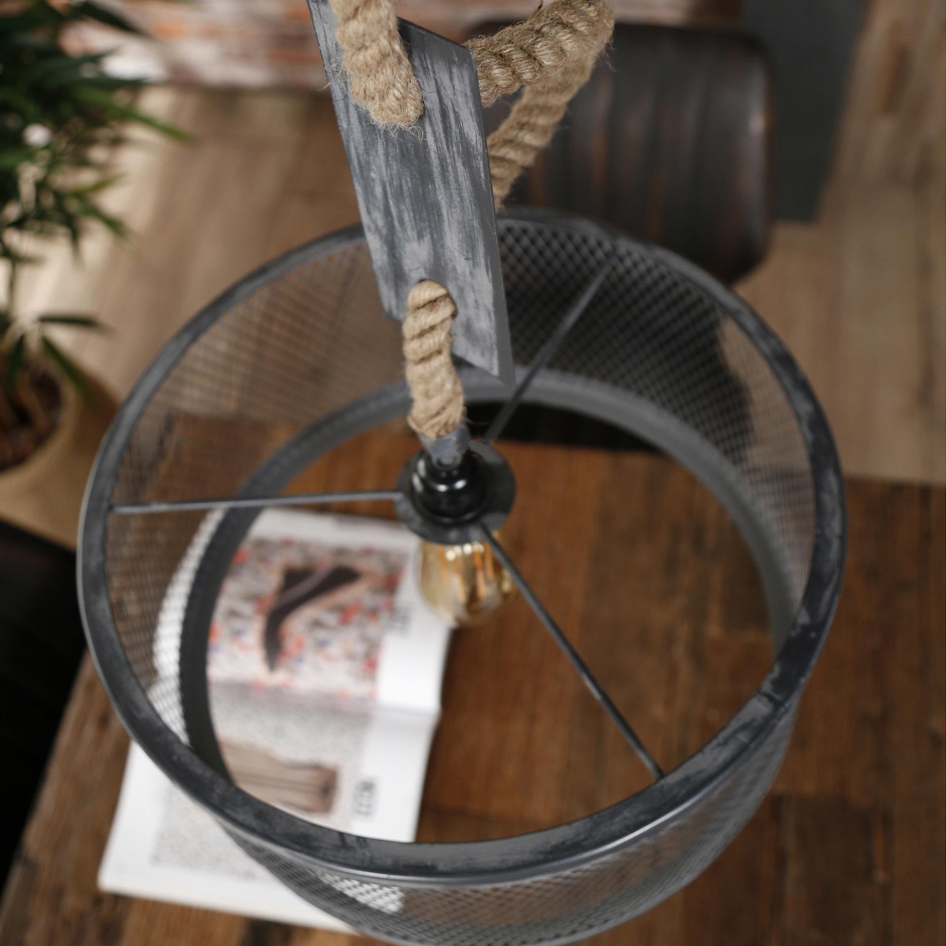 Duverger Rope - Hanglamp - cilinder - metaal gaas - dia 40cm  - verstelbaar touw