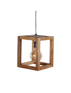 Duverger® Massive Mango - Hanglamp - houten frame - vierkant - met LED lichtbron