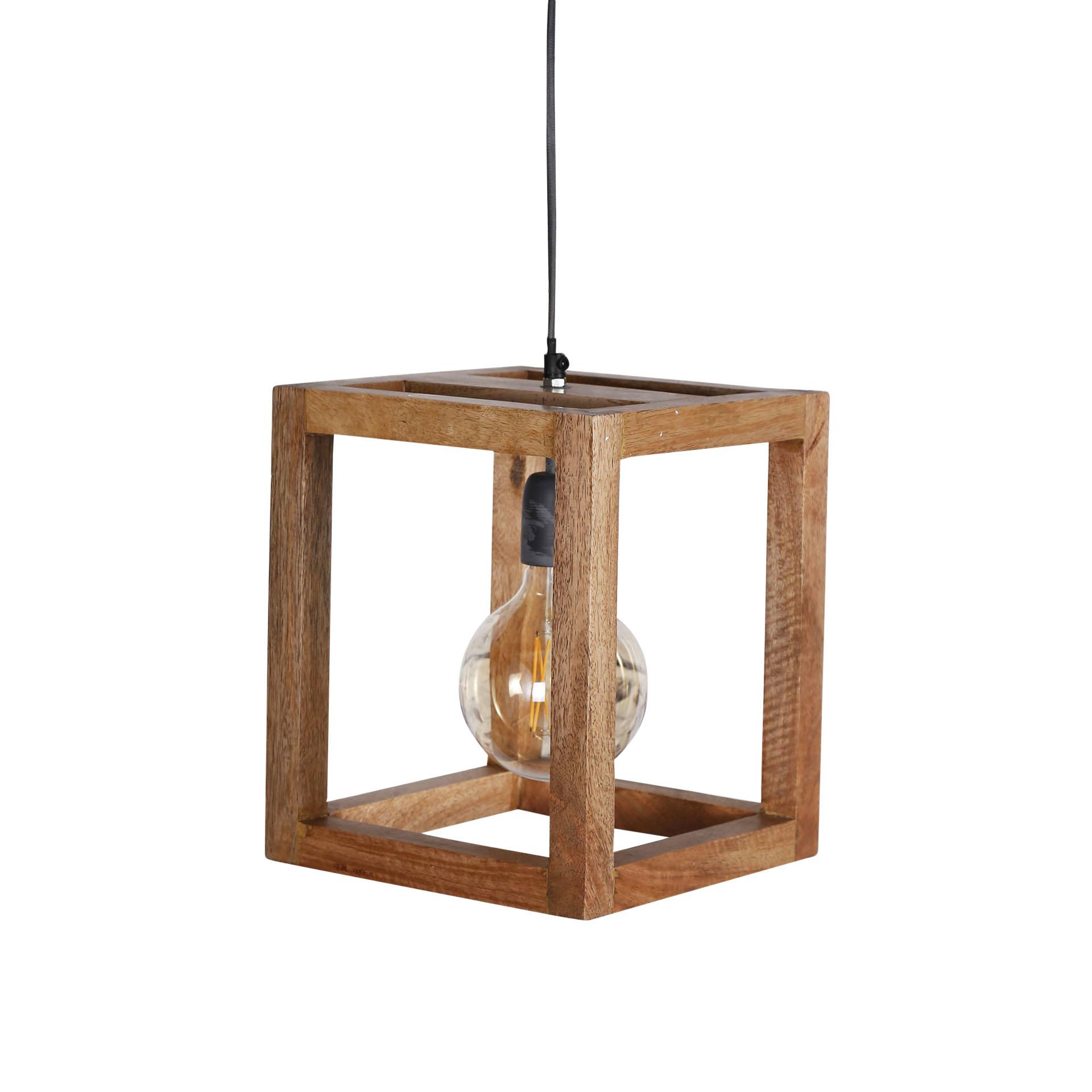Duverger Massive Mango - Hanglamp - houten frame - vierkant - 1 lichtpunt