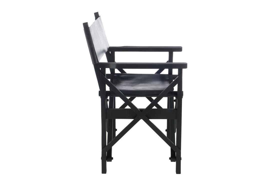 Duverger Cinema - Regisseur stoel - mat zwart - leder - hout - plooibaar