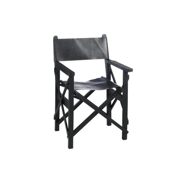 Duverger® Cinema - Regisseur stoel - mat zwart - leder - hout - plooibaar