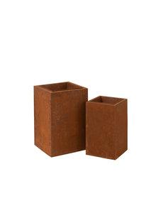 Duverger® Garden - Bloembakken - set van 2 - vierkant - metaal - roestkleurig