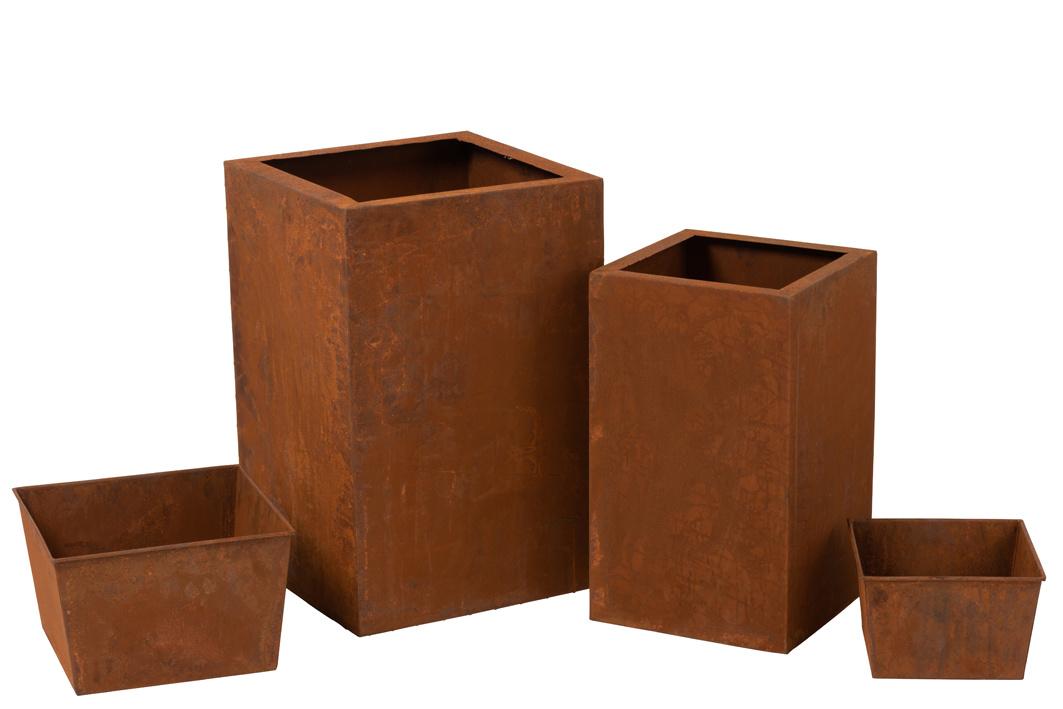 Duverger Garden - Bloembakken - set van 2 - vierkant - metaal - roestkleurig