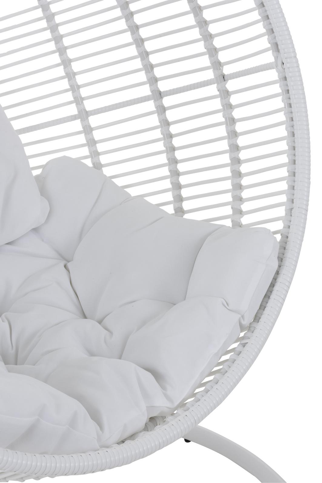 Duverger Garden - Hang fauteuil - bol vormig - wit - staal - kussens