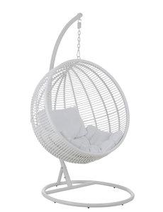 Duverger® Garden - Hang fauteuil - bol vormig - wit - staal - kussens