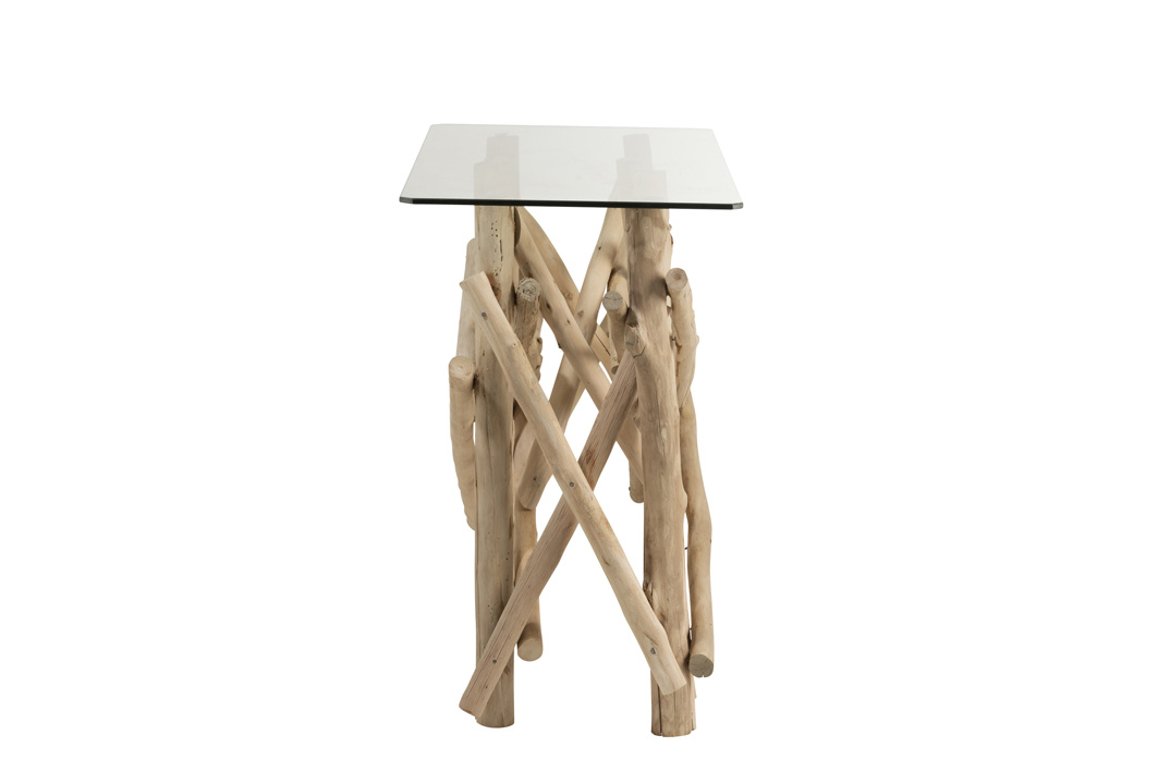 Duverger Nature branches - Sidetable - hout takken - glazen blad - rechthoekig