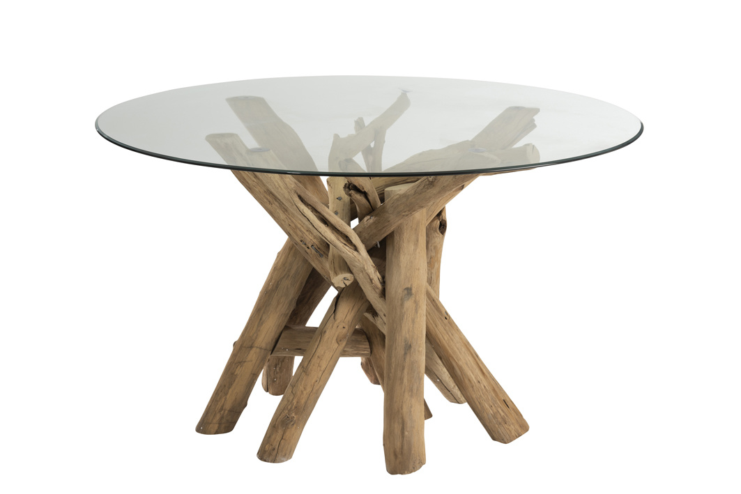 Duverger Nature branches - Eettafel - hout takken - glazen blad - rond
