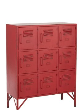 Duverger Industry locker - Opbergkast - rood - metaal - 9 deurtjes