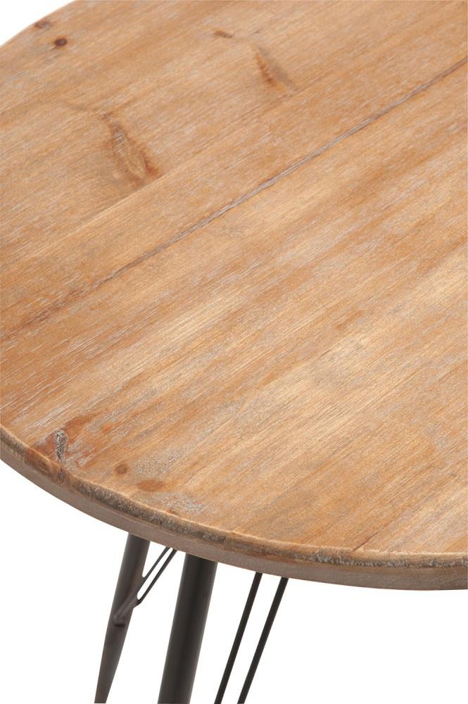 Duverger Bistro retro - Tafeltje - houten blad - rond - naturel - metalen frame - zwart