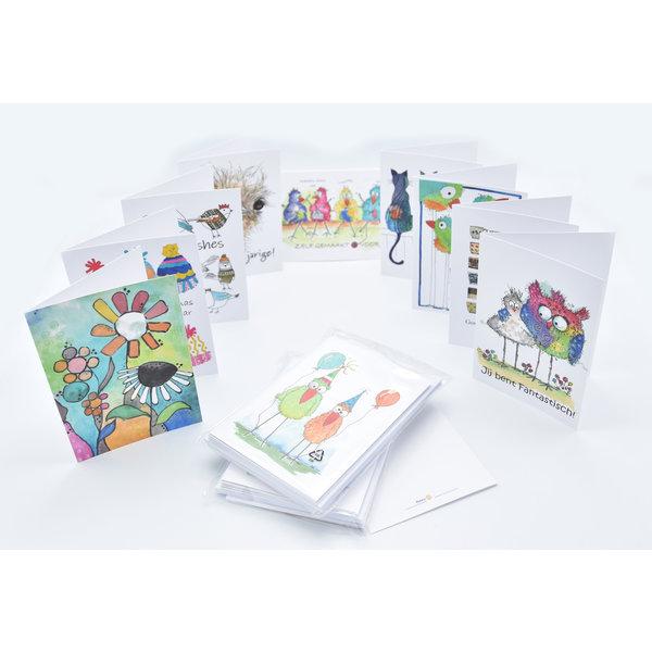 Pakket met 10 wenskaarten & enveloppen tvv sociale projecten van Rotary Waasmunster-Durmeland