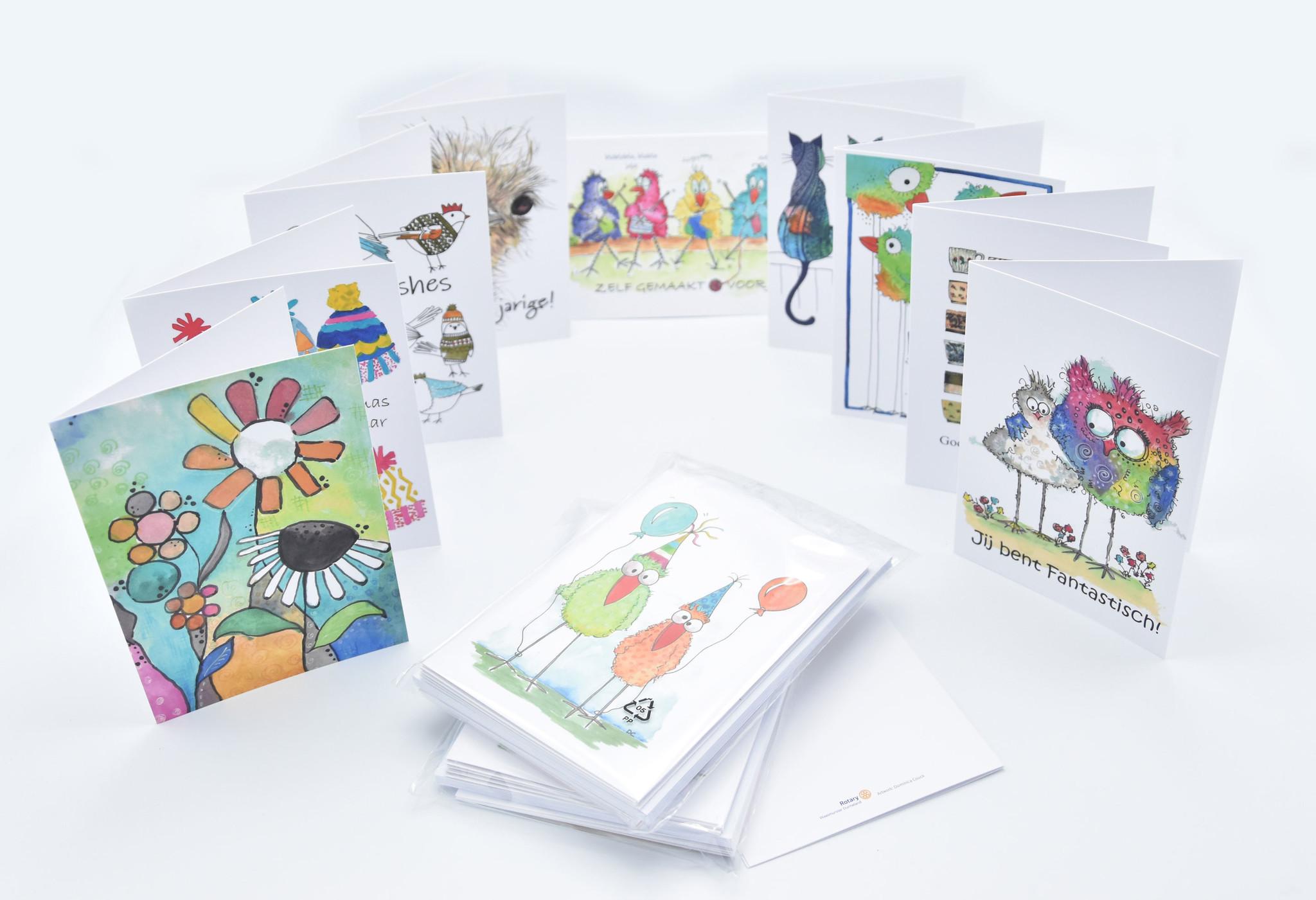 Promo Pakket met 50 wenskaarten & enveloppen tvv sociale projecten van Rotary Waasmunster-Durmeland