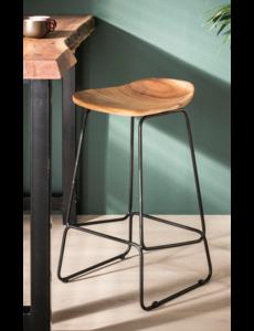 Duverger® Ergonomic - Barstoelen - set van 4 - houten zit - ergonomisch -  massief acacia - naturel - zwart metalen frame