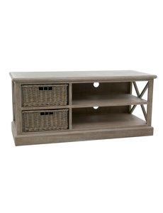 Duverger® Cottage - TV-meubel - hout - grey wash - 2 manden - 2schappen - landelijk