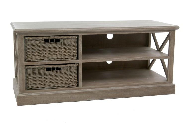 Duverger Cottage - TV-meubel - hout - grey wash - 2 manden - 2schappen - landelijk