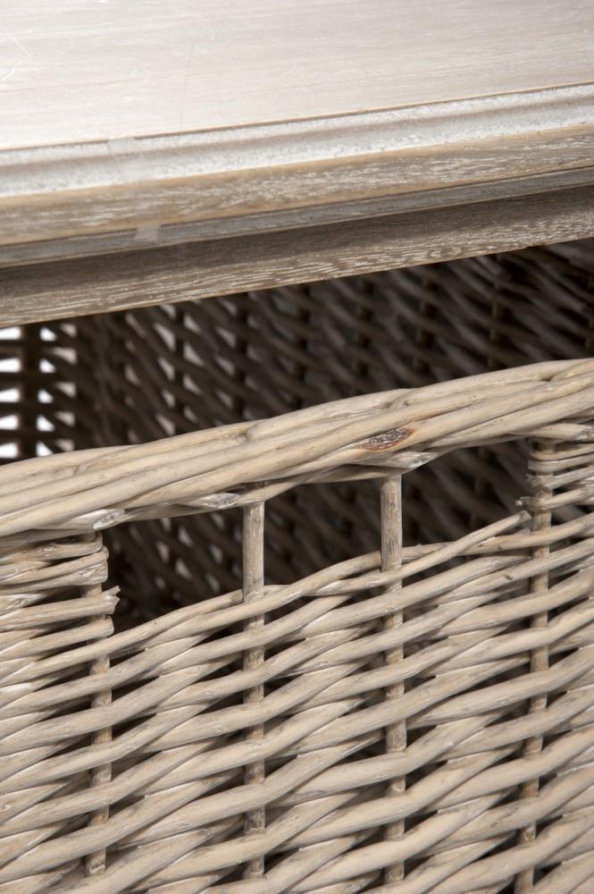 Duverger Cottage - Salontafel - hout - grey wash - 1 mand - 2schappen - landelijk