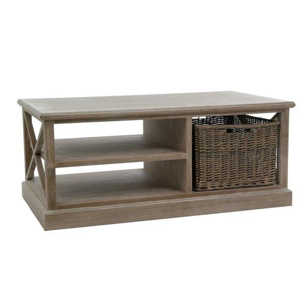 Duverger® Cottage - Salontafel - hout - grey wash - 1 mand - 2schappen - landelijk