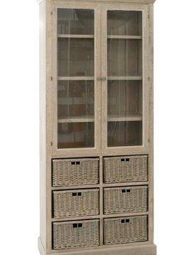 Duverger Cottage - Vitrinekast - hout - grey wash - 6 manden - 2 deuren - landelijk