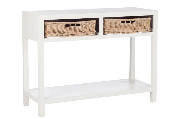 Duverger Cottage - Sidetable - rechthoekig - wit - hout - 2 manden - 1 legplank - landelijk