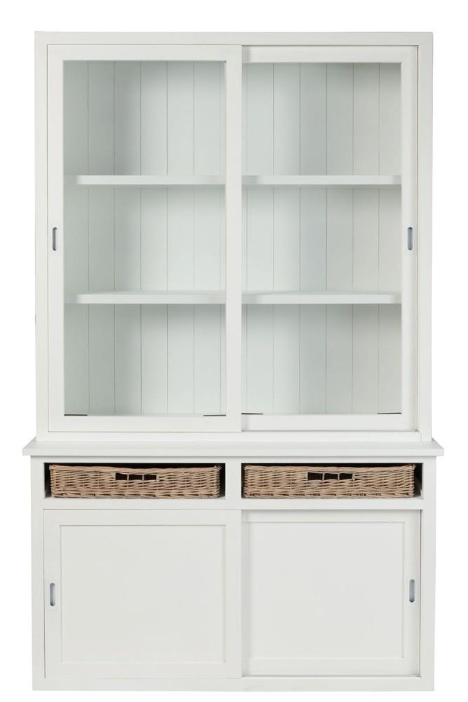 Duverger Cottage - Vitrinekast - wit - hout - 2 manden - 2 glasdeuren - 2 schuifdeuren - landelijk