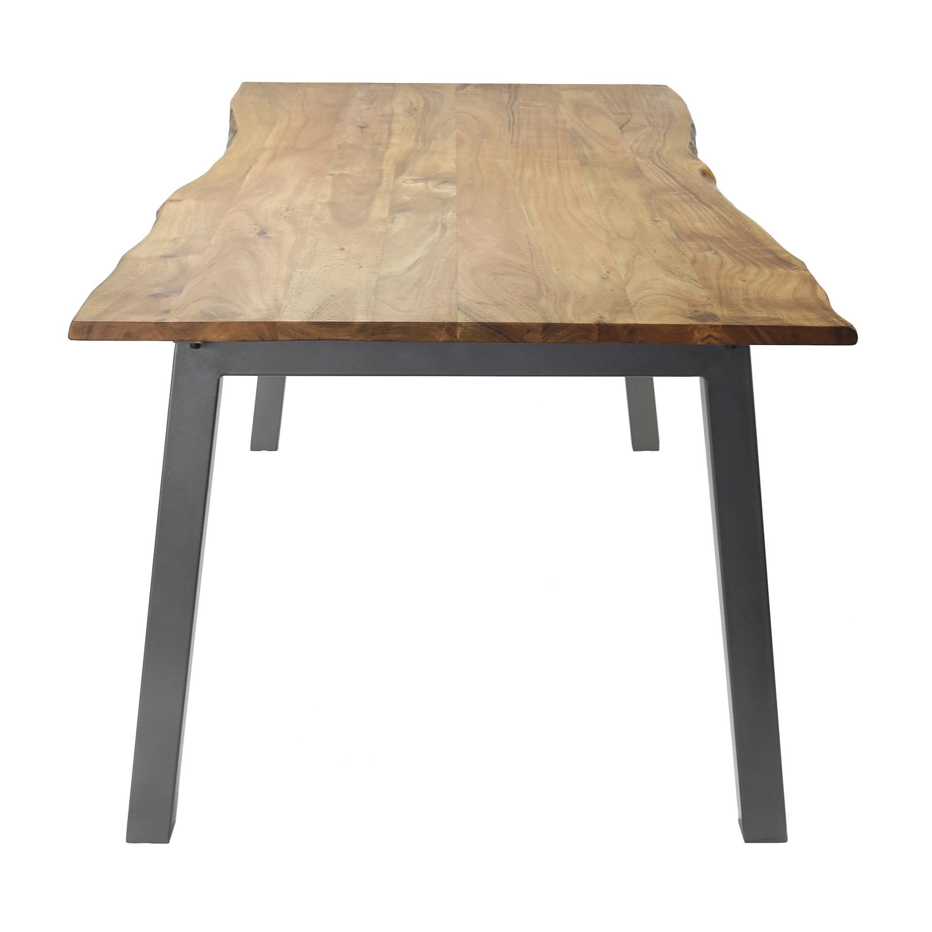 Duverger Tree - Eettafel - boomstam blad - massieve acacia - L 180cm - Dikte 2,5cm - Stalen U-poten - grijs gepoedercoat