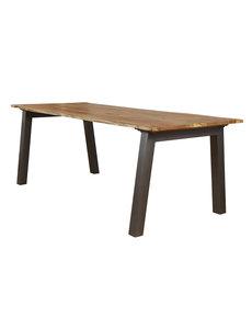 Duverger® Tree - Eettafel - boomstam blad - massieve acacia - L 180cm - Dikte 2,5cm - Stalen U-poten - grijs gepoedercoat