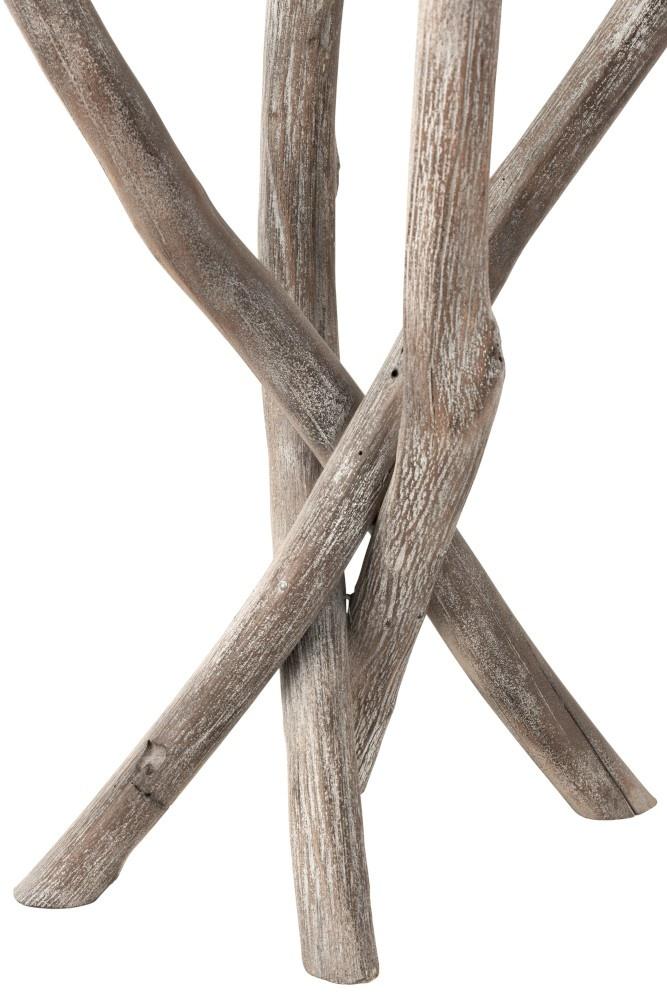 Duverger Nature branches - Bijzettafel - hout takken - grey wash - glazen blad - rond