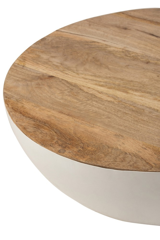 Duverger Coupe - Salontafel - halve bol - wit - metaal - mango hout blad - small