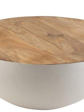Duverger Coupe - Salontafel - halve bol - wit - metaal - mango hout blad - large
