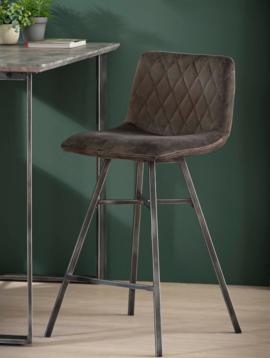 Duverger Velvet - Barstoelen - set van 4 - Antraciet velours - diamond stiksel - stalen frame - vintage look