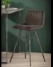 Duverger® Velvet - Barstoelen - set van 4 - Antraciet velours - diamond stiksel - stalen frame - vintage look