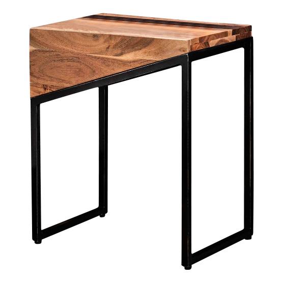 Duverger Triangle - Nachtkastjes - set van 2 - L&R - massief acacia - naturel - zwart metalen frame