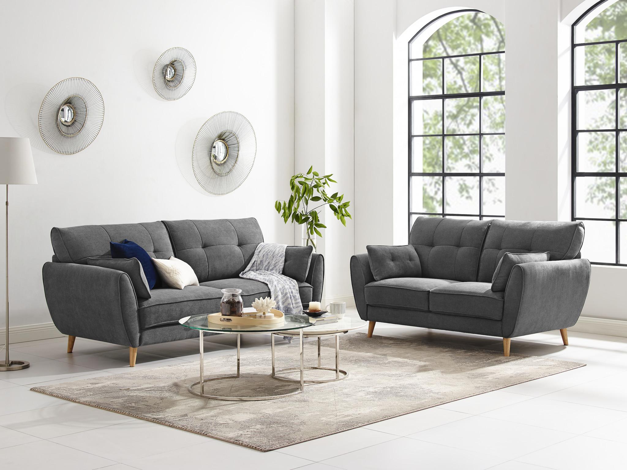 Duverger Pure Scandinavian - Sunny Day - Sofa - 2-zitsbank - grijze stof - houten pootjes