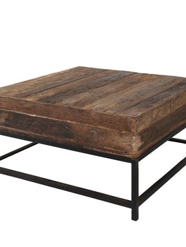 Duverger Recycled - Salontafel - massief gerecycled hout - vierkant - metalen frame