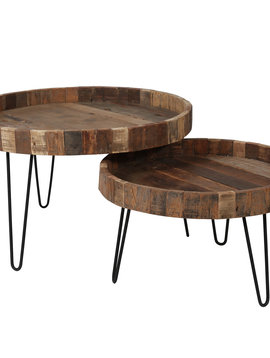 Duverger Recycled - Salontafel - set van 2 - massief gerecycled hout - rond - metalen poten