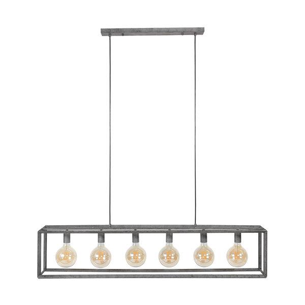 Duverger® Diamond - Hanglamp - staven in ruitvorm - oud zilver - 6 L - met 6 LED lichtbronnenHanglamp 6L 45 graden buis / Oud zilver