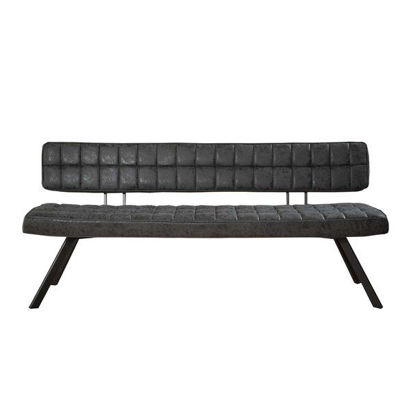 Duverger® Retro - eetkamerbank - L 180cm - PU wax met kruistiksel - zwart - open rug