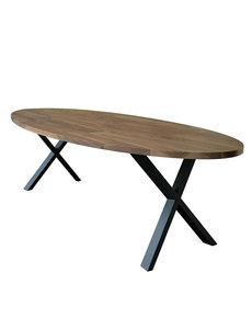 Duverger® Oval - Eettafel - 240cm - massief Saja notenhout - naturel - ovaal