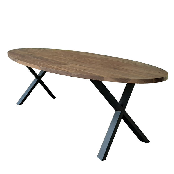 Duverger® Oval - Eettafel - 270cm - massief Saja notenhout - naturel - ovaal