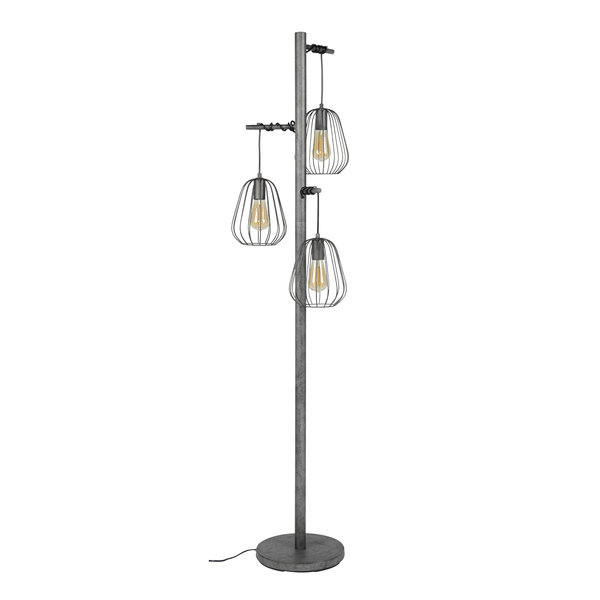 Duverger® Bird cage - Vloerlamp - 3L - oud zilver - met 3 LED lichtbronnen